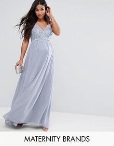 Кружевное платье макси на бретелях Chi Chi London Maternity - Серый