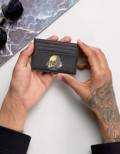 Кожаная кредитница с принтом черепа ASOS - Черный