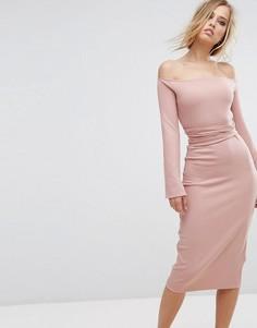 Платье миди с разрезами на рукавах Lost Ink - Розовый