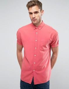 Свободная оксфордская рубашка с короткими рукавами ASOS - Розовый
