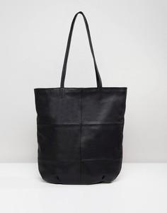 Кожаная сумка со вставками ASOS - Черный