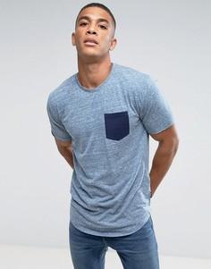 Удлиненная футболка с контрастным карманом Only & Sons - Серый