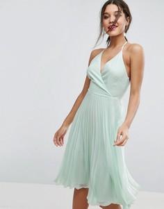 Плиссированное платье миди с бретелью через шею ASOS - Зеленый