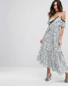 Кружевное платье макси с оборками ASOS PREMIUM - Мульти