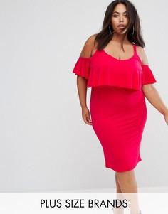Платье миди с накладкой и широкими бретелями Club L Plus - Красный