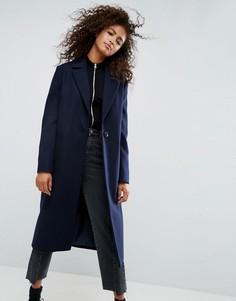Удлиненное пальто бойфренда ASOS - Темно-синий