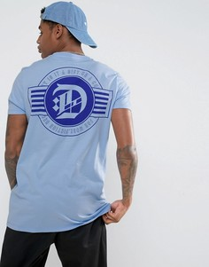 Длинная футболка с принтом на спине ASOS - Синий
