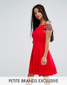 Платье мини с открытыми плечами, запахом и отделкой Little Mistress Petite - Красный