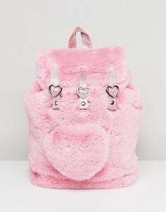 Розовый рюкзак из искусственного меха с сердцем Lazy Oaf - Розовый
