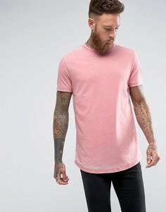 Розовая длинная футболка с асимметричным краем ASOS - Розовый