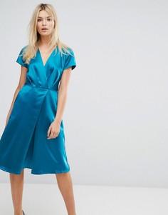 Атласное платье миди с короткими рукавами Closet - Зеленый