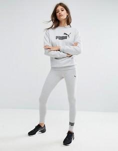 Серые леггинсы с логотипом Puma Essentials - Серый
