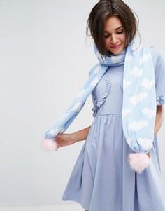 Вязаный шарф с облаками Lazy Oaf - Синий