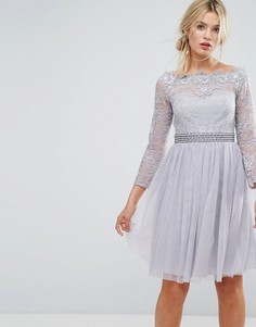 Платье миди со спущенными плечами и отделкой на талии Little Mistress - Серый