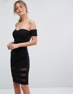 Облегающее платье со спущенными плечами и сетчатыми вставками New Look - Черный