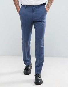Синие узкие брюки из 100% мериносовой шерсти ASOS WEDDING - Синий