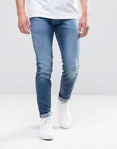 Выбеленные джинсы скинни Diesel 0681N - Синий
