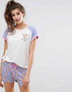 Пижамный топ с рукавами реглан и шорты с принтом пиццы Chelsea Peers - Мульти