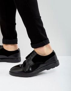 Черные кожаные дерби со вставками ASOS - Черный