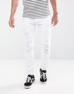 Супероблегающие белые джинсы с рваными коленями ASOS - Белый