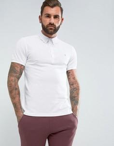 Белая футболка-поло узкого кроя из пике Farah Merriweather - Белый