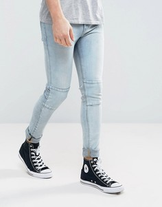 Голубые супероблегающие джинсы со вставками ASOS - Синий