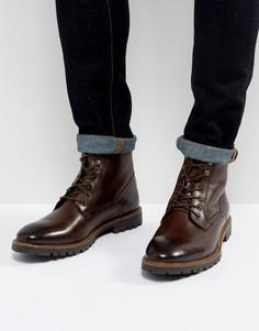 Коричневые кожаные ботинки на шнуровке Base London York - Коричневый