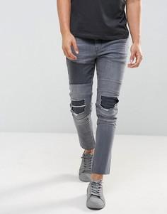 Серые байкерские джинсы скинни с рваной отделкой ASOS - Серый