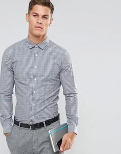 Серая строгая рубашка приталенного кроя из эластичного поплина в полоску ASOS - Серый