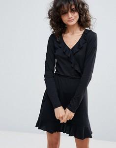 Платье с запахом и оборками Vero Moda - Черный