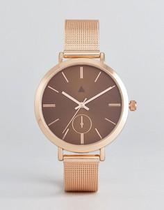 Часы с сетчатым ремешком и коричневым циферблатом ASOS - Медный