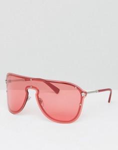 Красные солнцезащитные очки Versace Shield - Черный