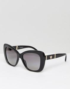 Солнцезащитные очки кошачий глаз с отделкой из кожи Versace - Черный