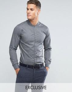 Облегающая рубашка с воротником в восточном стиле Noak - Серый