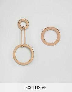 Асимметричные серьги с кольцами Reclaimed Vintage Inspired - Золотой