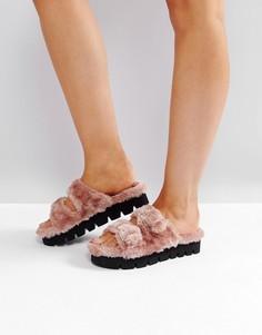 Розовые пушистые сандалии с пряжками Glamorous - Розовый