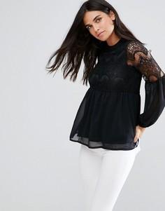 Шифоновая блузка с кружевом Rage - Черный