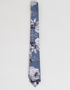 Галстук с цветочным принтом ASOS - Серый
