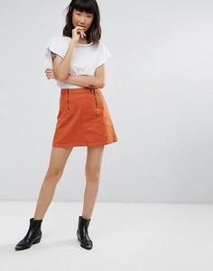 Джинсовая мини-юбка M.i.h Jeans Arrow - Оранжевый