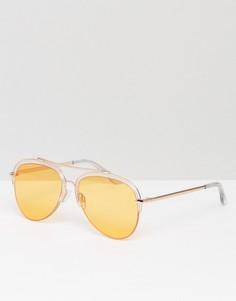 Солнцезащитные очки в полуоправе со стеклами персикового цвета South Beach - Оранжевый