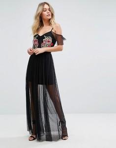 Сетчатое платье макси в горошек с вышивкой New Look Premium - Черный