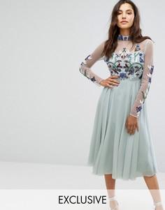 Декорированное платье миди с длинными рукавами и воротником-стойкой Maya -  Синий 0cad584d420