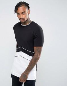 Черная длинная обтягивающая футболка в стиле ретро ASOS - Черный