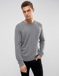 Темно-серый джемпер с узором в косичку и круглым вырезом Abercrombie & Fitch - Серый