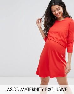 Асимметричное двухслойное платье в полоску с рукавами 3/4 ASOS Maternity NURSING - Красный