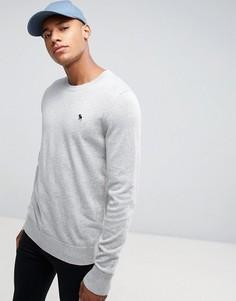 Серый джемпер с круглым вырезом и однотонным логотипом Abercrombie & Fitch - Серый