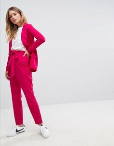 Широкие брюки с поясом Boohoo Premium - Розовый