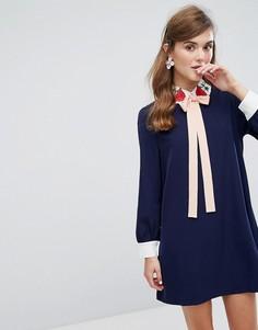 Платье мини с вышивкой на воротнике Sister Jane - Темно-синий