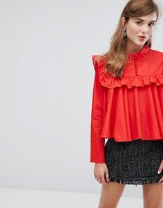 Свободная рубашка с высоким воротом Sister Jane - Красный