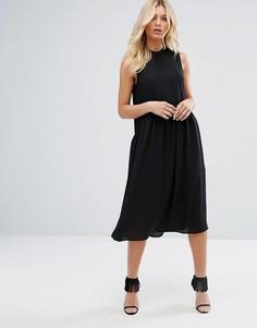 Платье миди с высоким воротом Y.A.S - Черный